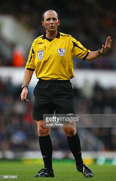 Referee Mike Dean gestures during the Barclays Premier League match between West Ham United and Manchester United at Upton Park on December 29 2007...
