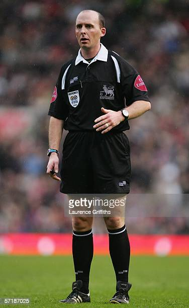 Referee Mike Dean looks on during the Barclays Premiership match between Manchester United and Birmingham City at Old Trafford on March 26 2006 in...
