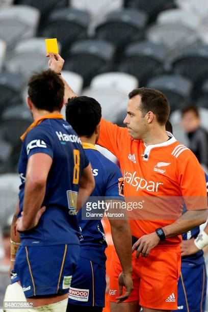 Referee Mike Fraser shows Josh Ioane of Otago the yellow card during the round five Mitre 10 Cup match between Otago and Tasman Forsyth Barr Stadium...