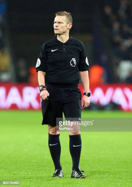Referee Mike Jones during Premier League match between West Ham United against West Bromwich Albion at The London Stadium Queen Elizabeth II Olympic...