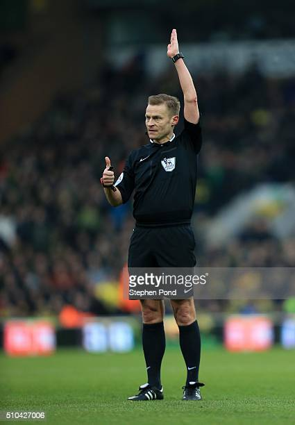 Referee Mike Jones during the Barclays Premier League match between Norwich City and West Ham United at Carrow Road on February 13 2016 in Norwich...