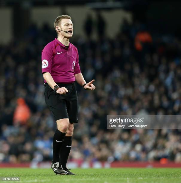 Referee Mike Jones during the Premier League match between Manchester City and Leicester City at Etihad Stadium on February 10 2018 in Manchester...