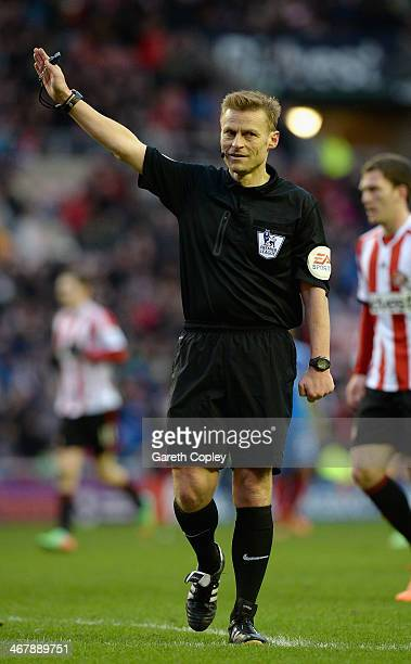 Referee Mike Jones during the Premier League match between Sunderland and Hull City at Stadium of Light on February 8 2014 in Sunderland England