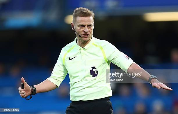 Referee Mike Jones looks on during the Premier League match between Chelsea and AFC Bournemouth at Stamford Bridge on December 26 2016 in London...
