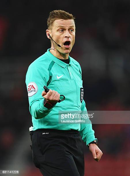Referee Mike Jones shouts during The Emirates FA Cup Third Round match between Stoke City and Wolverhampton Wanderers at Bet365 Stadium on January 7...