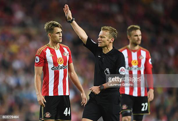 Referee Mike Jones signals as Adnan Januzaj of Sunderland looks on during the Premier League match between Sunderland and Everton at Stadium of Light...