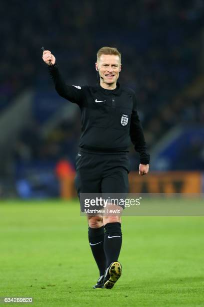 Referee Mike Jones signals during the Emirates FA Cup Fourth Round replay match between Leicester City and Derby City at The King Power Stadium on...