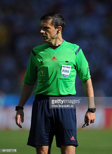 Referee Milorad Mazic looks on during the 2014 FIFA World Cup Brazil Group F match between Argentina and Iran at Estadio Mineirao on June 21 2014 in...