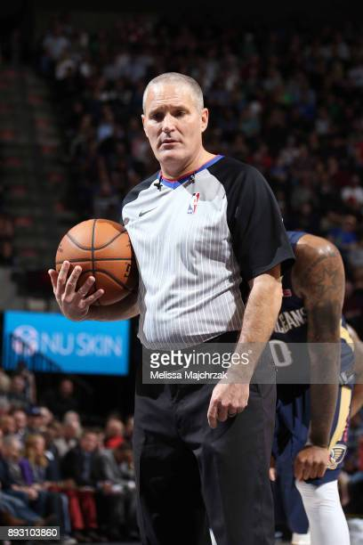 Referee Monty McCutchen looks on during the New Orleans Pelicans game against the Utah Jazz on December 1 2017 at vivintSmartHome Arena in Salt Lake...