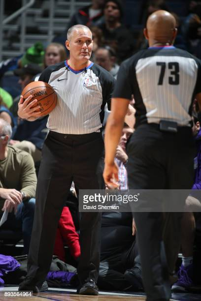 Referee Monty McCutchen makes a call during the game against the Sacramento Kings on December 14 2017 at Target Center in Minneapolis Minnesota NOTE...