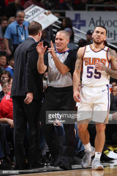Referee Monty McCutchen makes a call during the Phoenix Suns game against the Chicago Bulls on November 28 2017 at the United Center in Chicago...