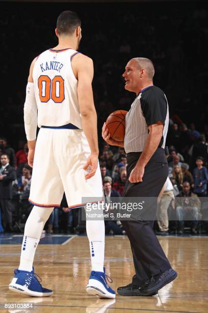Referee Monty McCutchen talks with Enes Kanter of the New York Knicks during the game against the Utah Jazz on November 15 2017 at Madison Square...