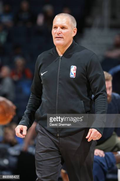 Referee Monty McCutchen warms up before the game against the Sacramento Kings on December 14 2017 at Target Center in Minneapolis Minnesota NOTE TO...