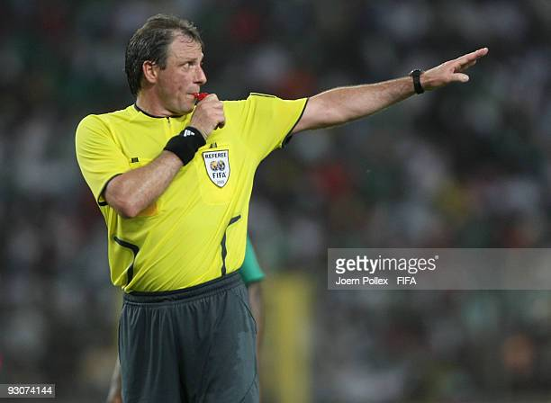 Referee Nartin Vazquez gestures during the FIFA U17 World Cup Final between Switzerland and Nigeria at the Abuja National Stadium on November 15 2009...