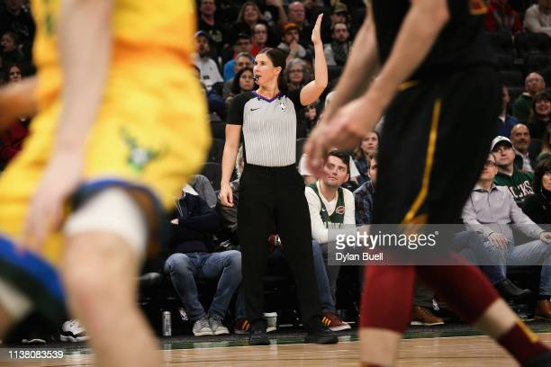 Referee Natalie Sago looks on during the game between the Cleveland Cavaliers and Milwaukee Bucks at the Fiserv Forum on March 24 2019 in Milwaukee...