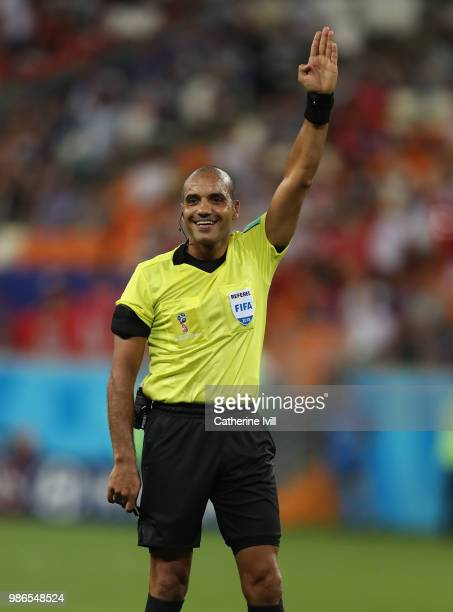Referee Nawaf Shukralla during the 2018 FIFA World Cup Russia group G match between Panama and Tunisia at Mordovia Arena on June 28 2018 in Saransk...