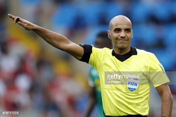 referee Nawaf Shukralla during the 2018 FIFA World Cup Russia group H match between Poland and Senegal at the Otkrytiye Arena on June 19 2018 in...