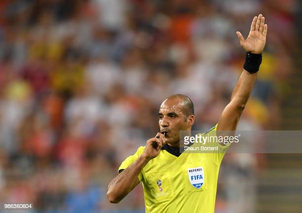 Referee Nawaf Shukralla gestures during the 2018 FIFA World Cup Russia group G match between Panama and Tunisia at Mordovia Arena on June 28 2018 in...