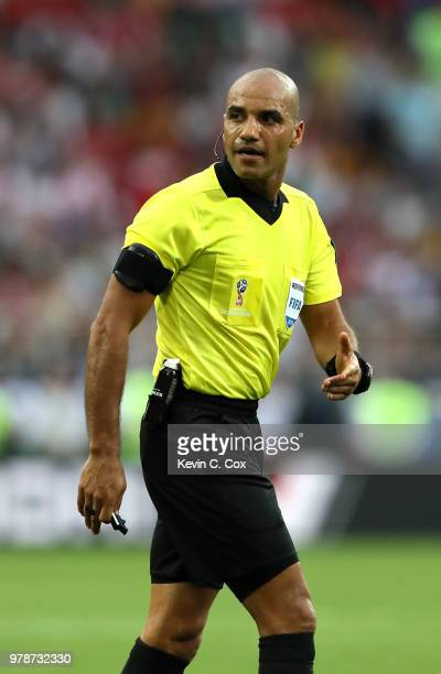Referee Nawaf Shukralla gestures during the 2018 FIFA World Cup Russia group H match between Poland and Senegal at Spartak Stadium on June 19 2018 in...