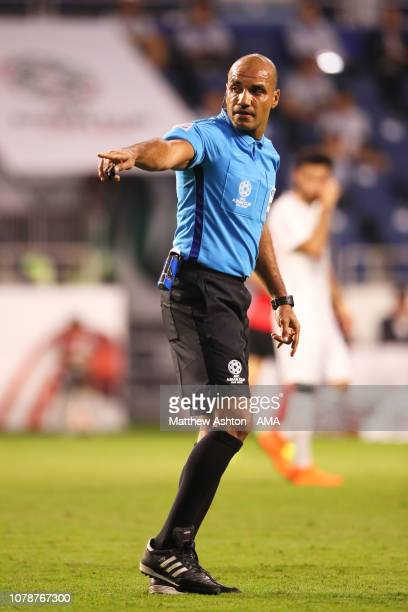 Referee Nawaf Shukralla in action during the AFC Asian Cup Group C match between South Korea and Philippines at Al Maktoum Stadium on January 7 2019...