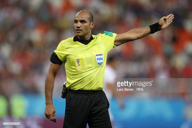 Referee Nawaf Shukralla looks on during the 2018 FIFA World Cup Russia group G match between Panama and Tunisia at Mordovia Arena on June 28 2018 in...
