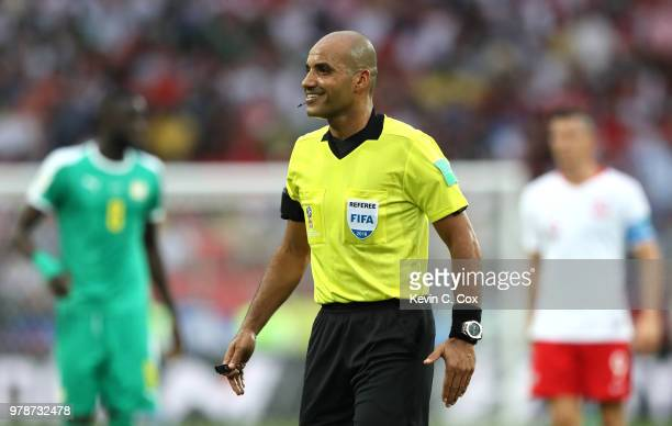 Referee Nawaf Shukralla looks on during the 2018 FIFA World Cup Russia group H match between Poland and Senegal at Spartak Stadium on June 19 2018 in...