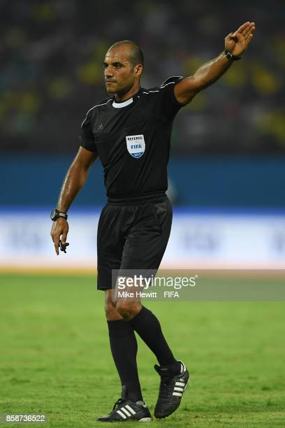 Referee Nawaf Shukralla of Bahrain in action during the FIFA U17 World Cup India 2017 group D match between Brazil and Spain at the Jawaharlal Nehru...