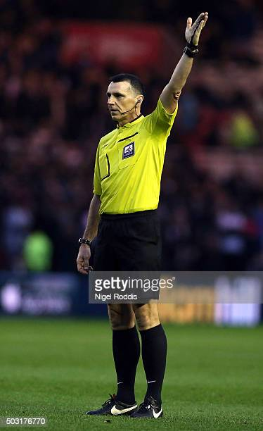 Referee Neil Swarbrick during the Sky Bet Championship soccer match between Middlesbrough and Derby County on January 2 2016 in Middlesbrough United...