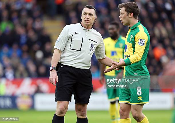 Referee Neil Swarbrick has a word with Jonny Howson of Norwich City during the Barclays Premier League match between Leicester City and Norwich City...