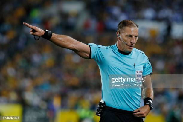 Referee Nestor Fabian Pitana calls a goal kick during the 2nd leg of the 2018 FIFA World Cup Qualifier between the Australia and Honduras at Stadium...