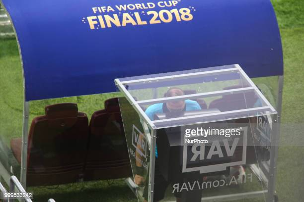 Referee Nestor Pitana check the VAR during the 2018 FIFA World Cup Russia Final between France and Croatia at Luzhniki Stadium on July 15 2018 in...