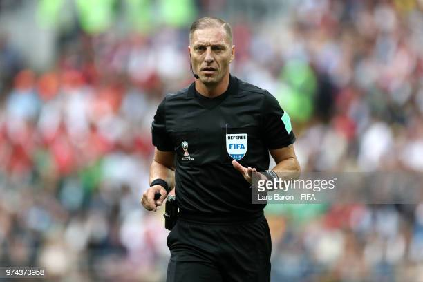 Referee Nestor Pitana looks on during the 2018 FIFA World Cup Russia Group A match between Russia and Saudi Arabia at Luzhniki Stadium on June 14...