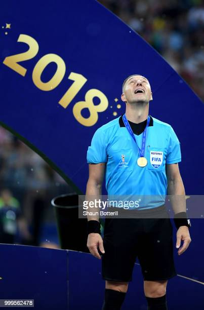 Referee Nestor Pitana looks to the sky after the 2018 FIFA World Cup Final between France and Croatia at Luzhniki Stadium on July 15 2018 in Moscow...