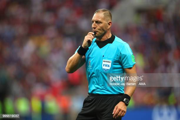 Referee Nestor Pitana reacts during the 2018 FIFA World Cup Russia Final between France and Croatia at Luzhniki Stadium on July 15 2018 in Moscow...
