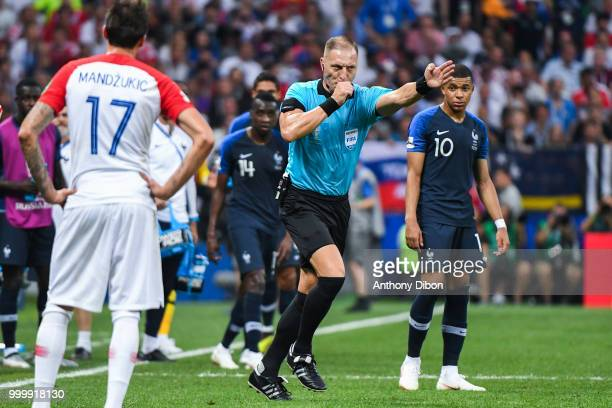 Referee Nestor Pitana says penalty after VAR Decision during the World Cup Final match between France and Croatia at Luzhniki Stadium on July 15 2018...