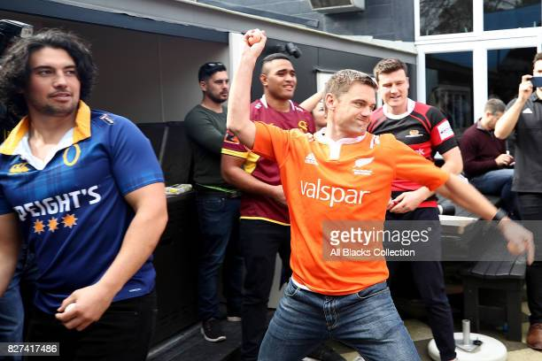 Referee Nick Bryant throws a paint bomb at a map of New Zealand during the Mitre 10 Cup Season Launch at the College Rifles Rugby Union Football...
