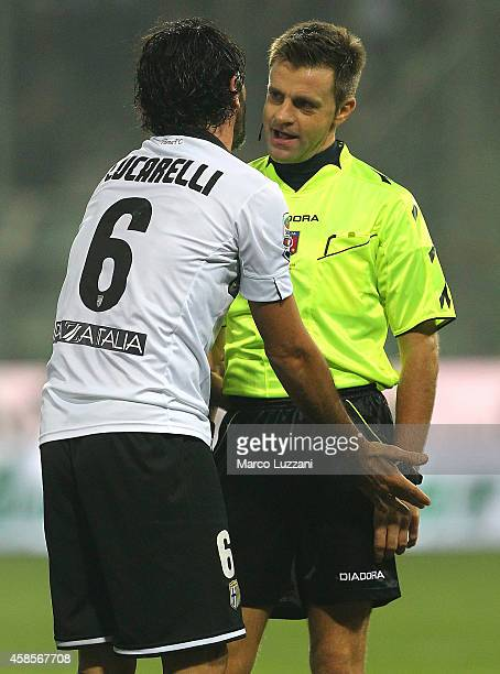 Referee Nicola Rizzoli disputes with Alessandro Lucarelli of Parma FC during the Serie A match between Parma FC and FC Internazionale Milano at...