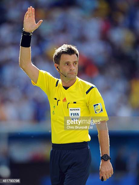 Referee Nicola Rizzoli gestures during the 2014 FIFA World Cup Brazil Quarter Final match between Argentina and Belgium at Estadio Nacional on July...