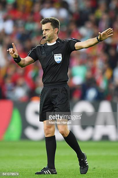 Referee Nicola Rizzoli in action during the UEFA EURO 2016 Group F match between Portugal and Austria at Parc des Princes on June 18 2016 in Paris...