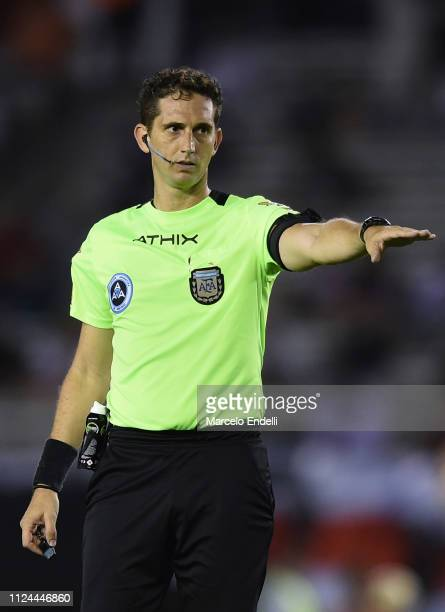 Referee Nicolas Lamolina gestures during a match between River Plate and Union as part of Round 12 of Superliga 2018/19 at Estadio Monumental Antonio...