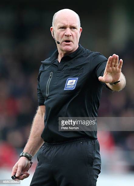 Referee Nigel Miller in action during the Sky Bet League Two match between Northampton Town and Plymouth Argyle at Sixfields Stadium on February 8...
