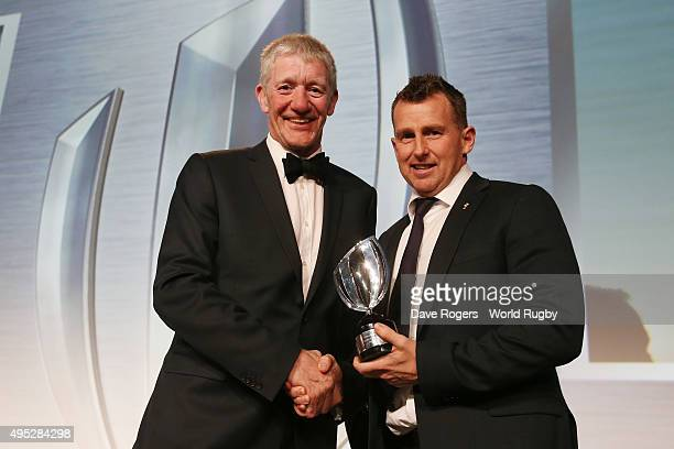 Referee Nigel Owen of Wales receives the World Rugby via Getty Images Referee award from John Jeffrey during the World Rugby via Getty Images Awards...