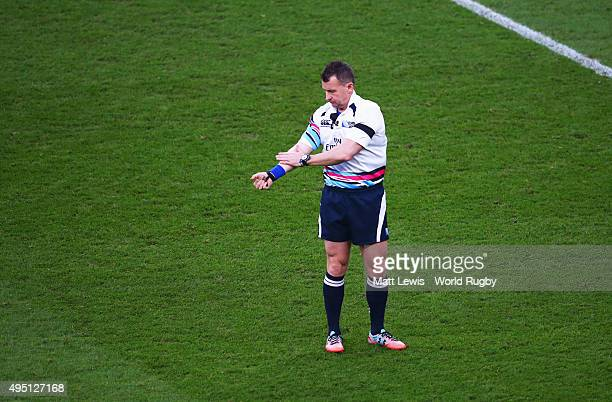 Referee Nigel Owens during the 2015 Rugby World Cup Final match between New Zealand and Australia at Twickenham Stadium on October 31 2015 in London...