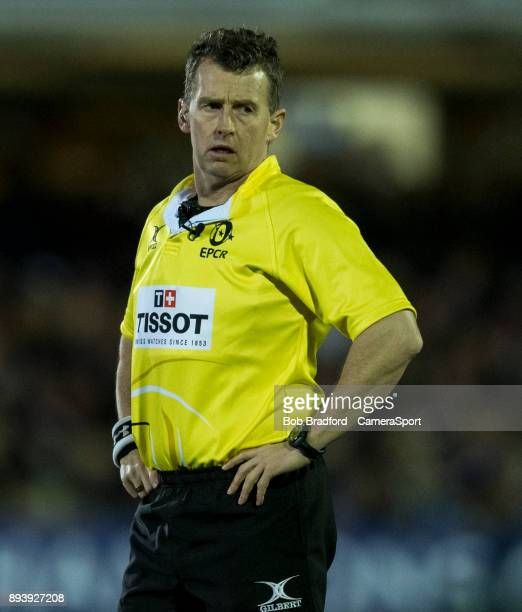 Referee Nigel Owens during the European Rugby Champions Cup match between Bath Rugby and RC Toulon at Recreation Ground on December 16 2017 in Bath...