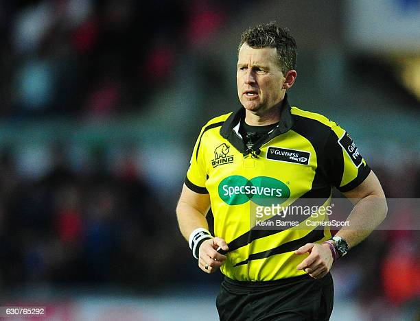 Referee Nigel Owens during the Guinness PRO12 Round 12 match between Scarlets and Cardiff Blues at Parc y Scarlets on January 1 2017 in Llanelli Wales