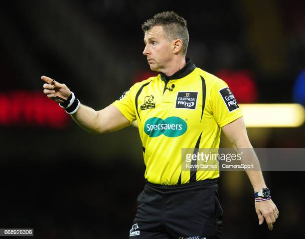 Referee Nigel Owens during the Guinness PRO12 Round 20 match between Newport Gwent Dragons and Scarlets at Principality Stadium on April 15 2017 in...