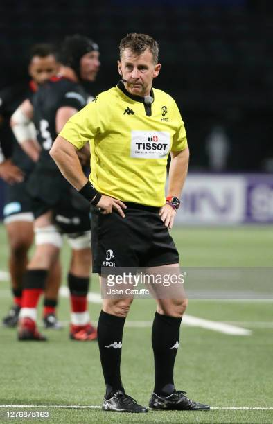 Referee Nigel Owens during the Heineken Champions Cup Semi Final match between Racing 92 and Saracens at Paris La Defense Arena on September 26 2020...