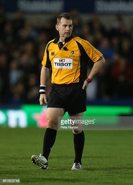 Referee Nigel Owens in action during the European Rugby Champions Cup match between Northampton Saints and Racing 92 at Franklin's Gardens on...