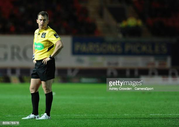 Referee Nigel Owens in action during todays match during the Guinness Pro14 Round 5 match between Scarlets and Connacht Rugby at Parc y Scarlets on...