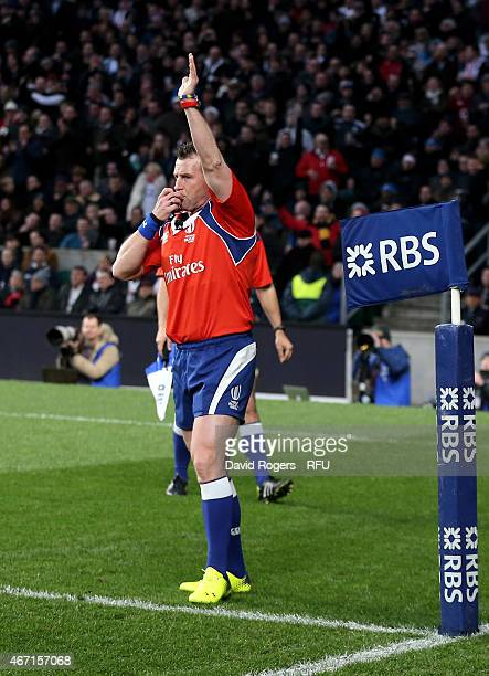 Referee Nigel Owens of Wales awards England's second try during the RBS Six Nations match between England and France at Twickenham Stadium on March...